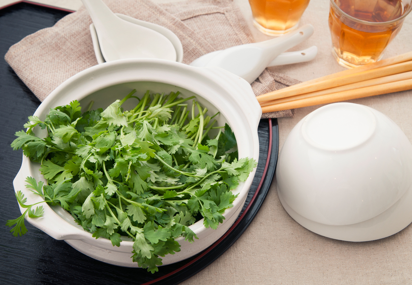 coriander which are in the earthenware pot