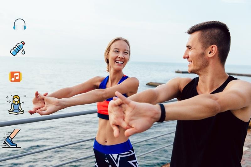 การออกกำลังกาย รองเท้าสุขภาพ หูฟังแบบไร้สาย เพลงสำหรับออกกำลังกาย