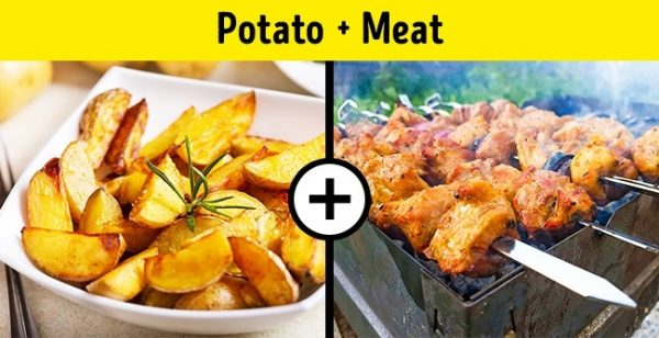 มันฝรั่งทอด + เนื้อ