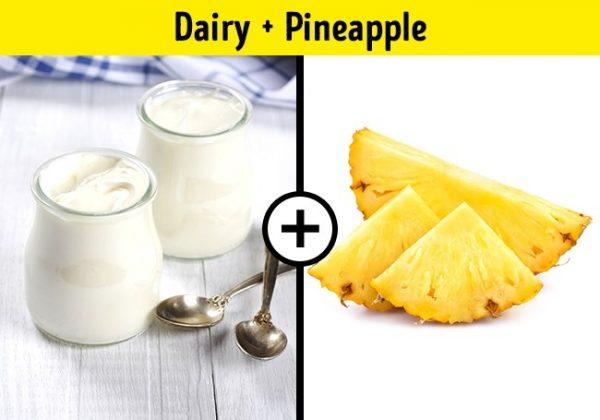ผลิตภัณฑ์ที่ทำจากนม + สับปะรด